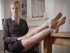 Blonde, Femdom, Foot Fetish, Mistress, Stockings
