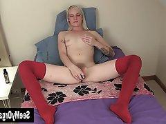 Amateur, Blonde, Masturbation, Softcore, Toys