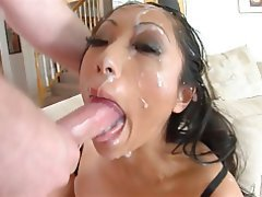 deepthroat shot Asian cum