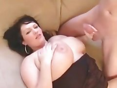 Sultry bbw in crotchless panties fucked