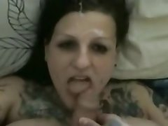 Amateur, Blowjob, Cumshot, Facial, Tattoo