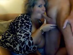 Handjob mature cumshot on the tits