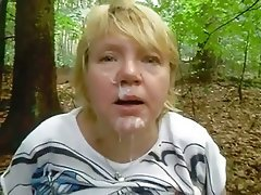 Chubby mature takes facial
