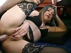 Mature woman in stockings gets assfucked
