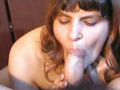 Brunette takes huge cock