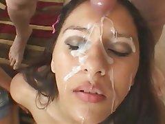 Amateur bukkake facial